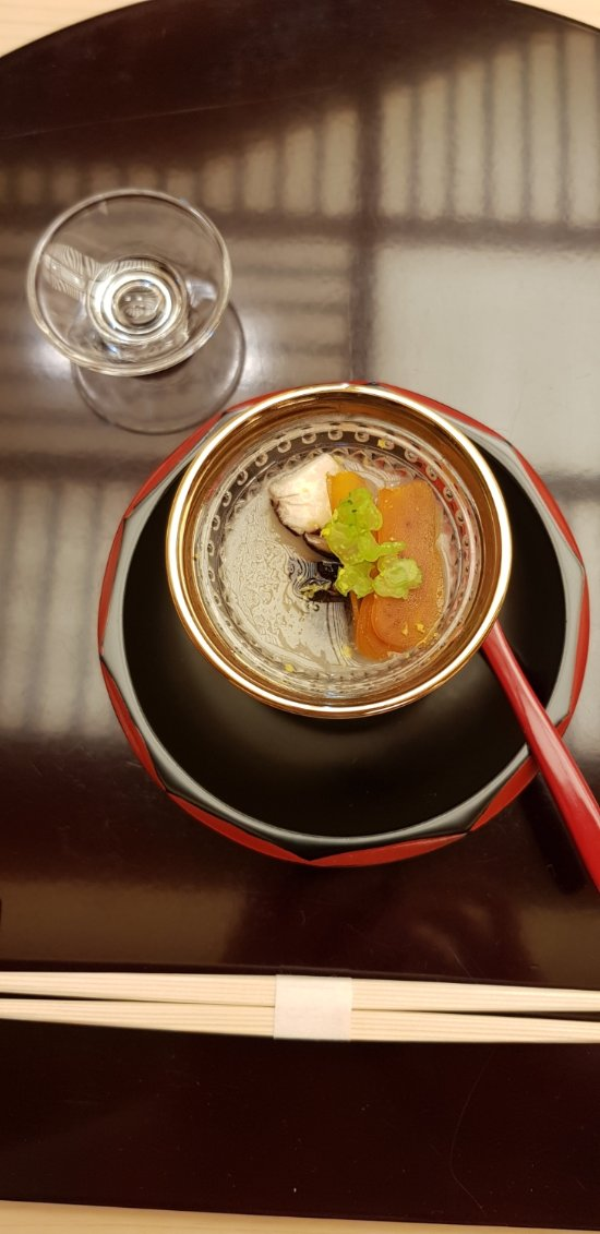 Dashi soup, grated turnip with dried botargo