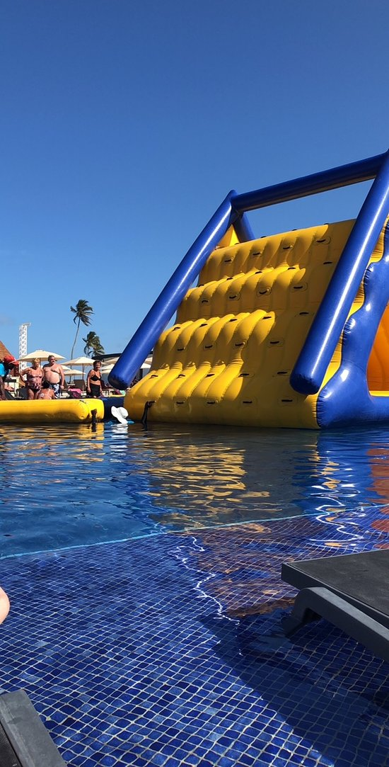 Blow up obstacle course one day at the pool
