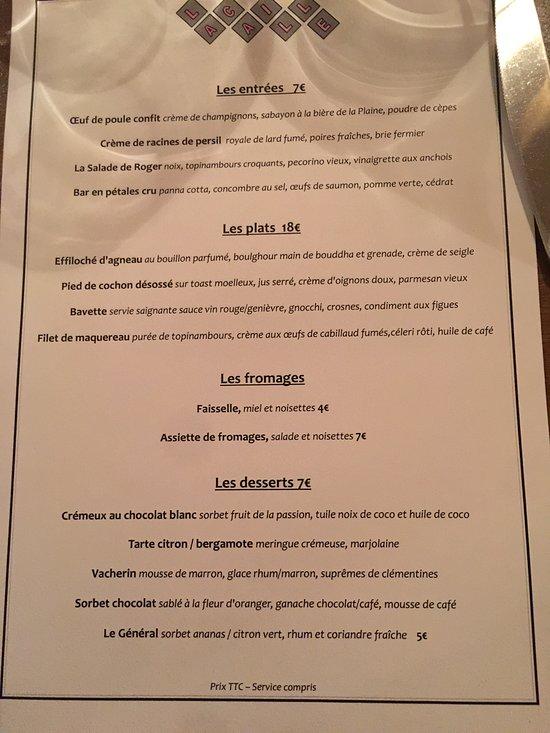 Lacaille Restaurant Menu