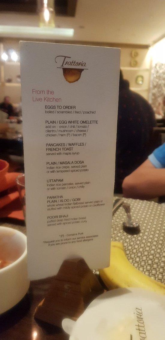 Hot breakfast menu.