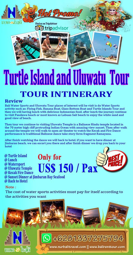 Info detail, please visit our site : https://www.nurbalitravel.com/2018/11/turtle-island-and-uluwatu-package-tour.html