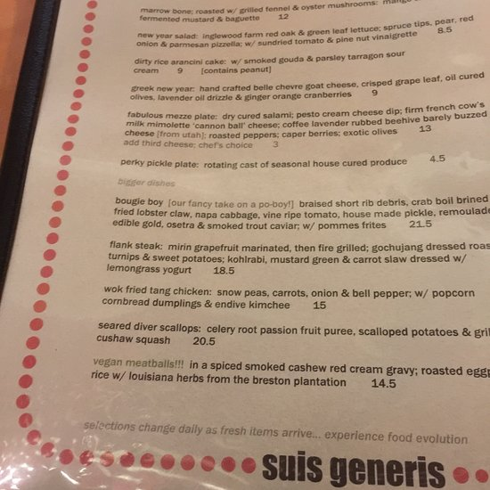 Suis Generis, New Orleans - Ninth Ward - Menu, Prices