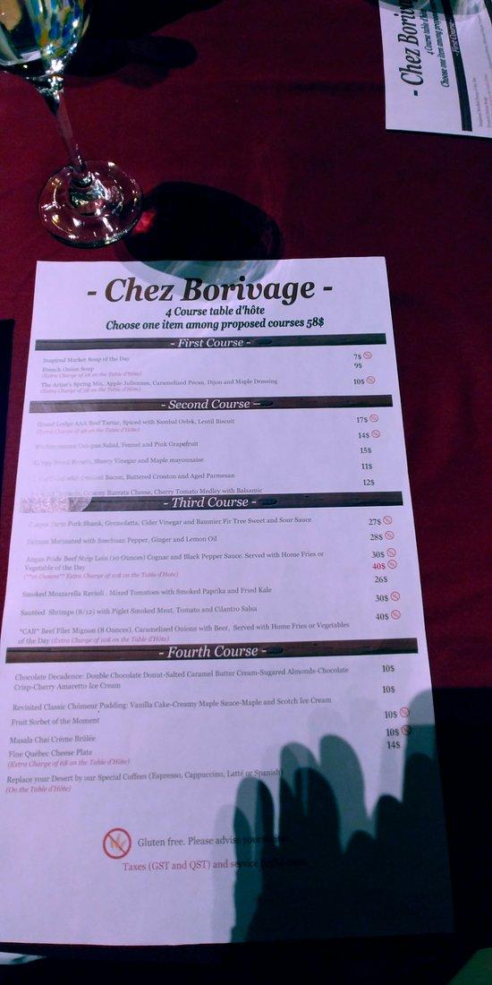 Chez Borivage Dinner Menu