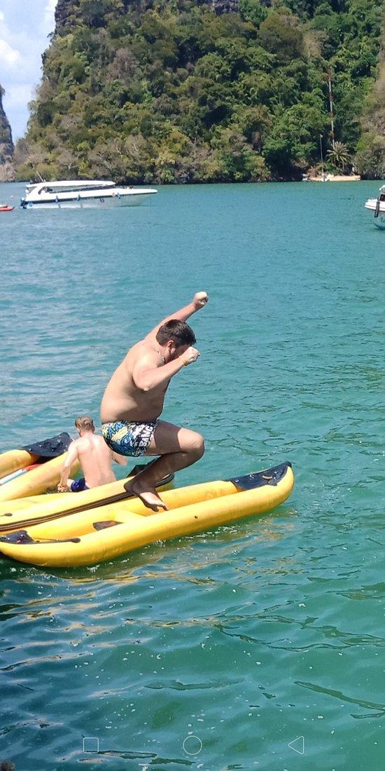 Fun fun fun.jump jump jump. Swim swim swim with us. Sea angle Phuket tour.  James Bond island trip. With Tonyyyyy. 222 speed boat.