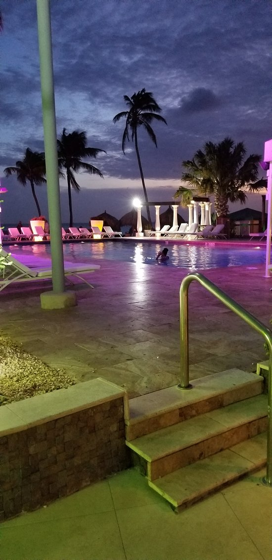 This is the pool at sunset.