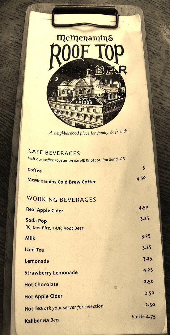 A Menu Listing on one of the tablers
