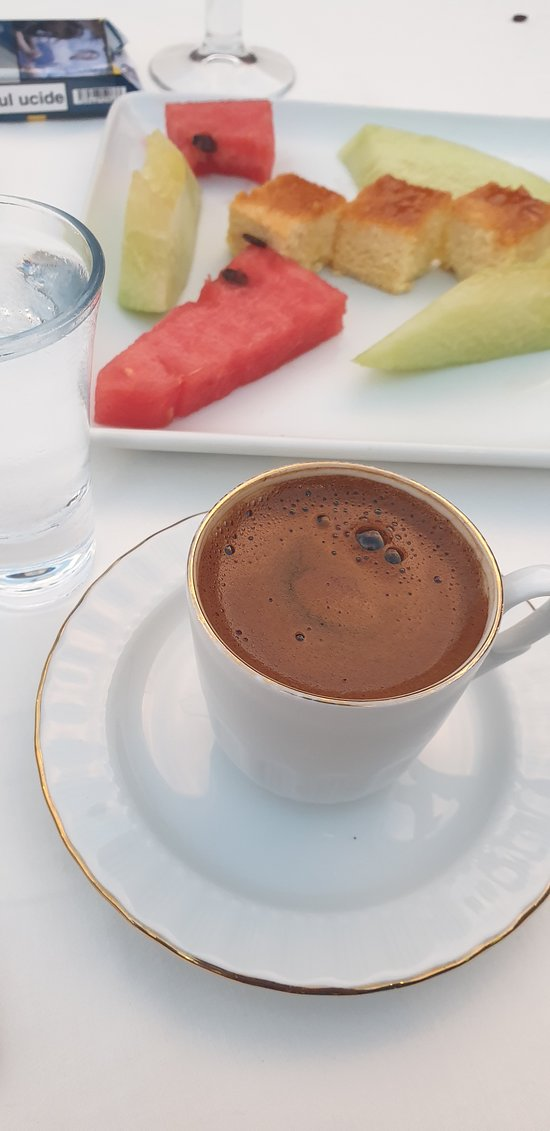fresh coffee and fruits