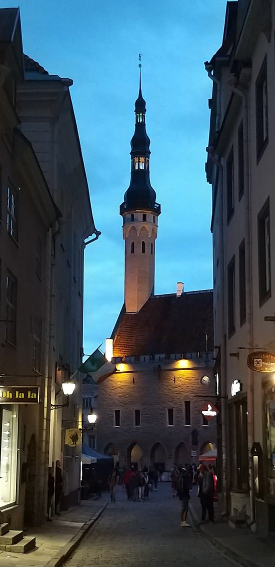 View of a Town Hall in the evening
