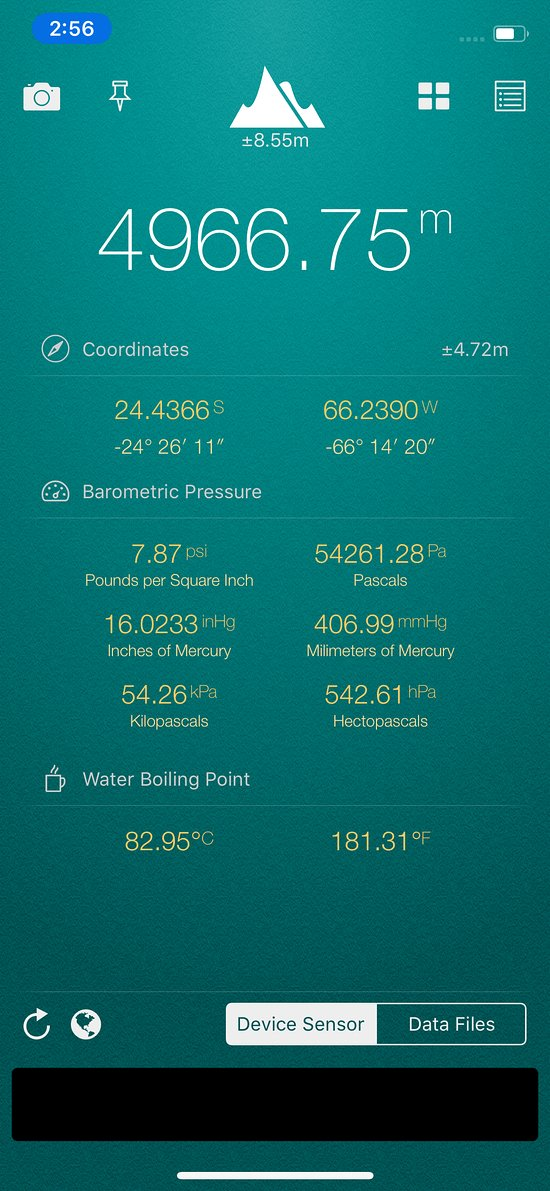Reading from my iPhone altimeter