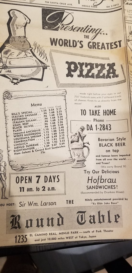 The first Round Table Pizza ad in 1960