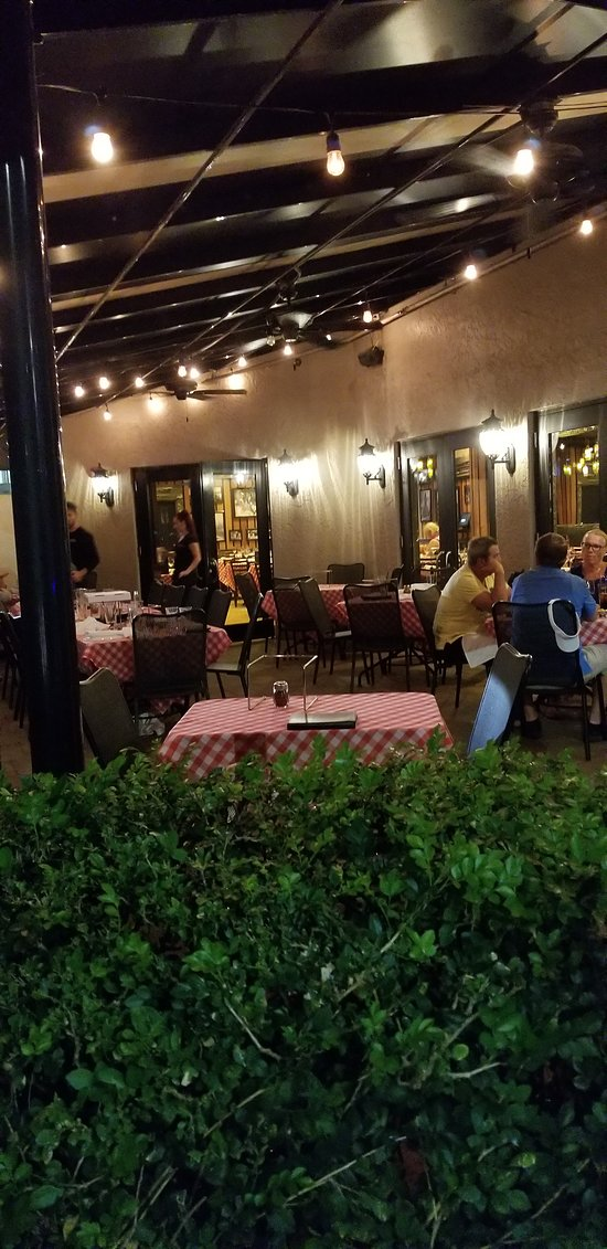 A view of the outdoor dining area, at Grimaldi's in Fort Myers, FL