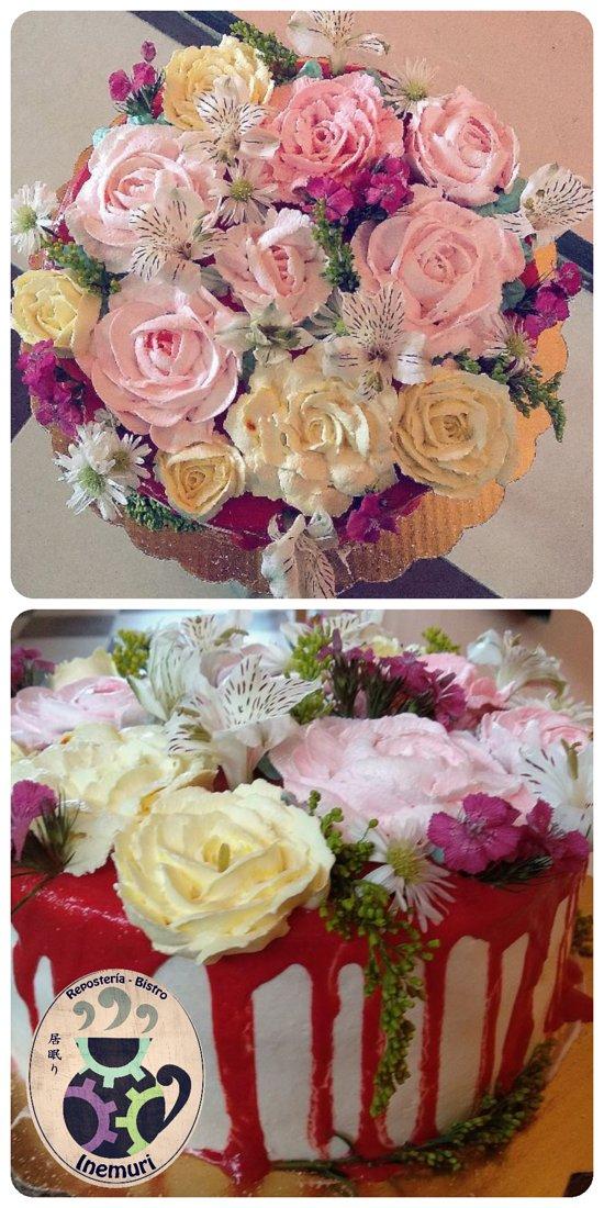 Pastel diseño de flores