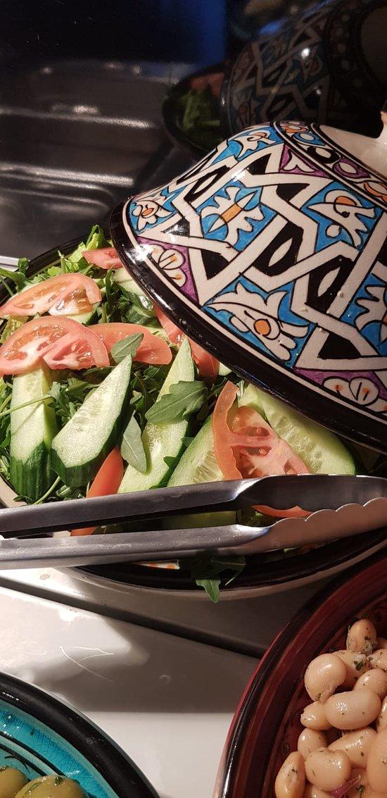 Green salad prepared every day at Bistro Serrano