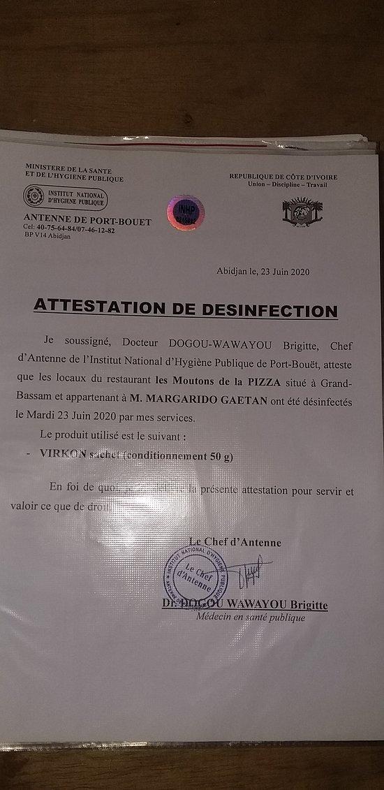 Bonjour a toutes et a tous pour répondre aux mesures gouvernemental notre établissement a subit à notre demande pour que si le besoin en était une désinfection Covid effectuer par le Ministère de la Santé et l Institut d'hygiène de Côte d'Ivoire.