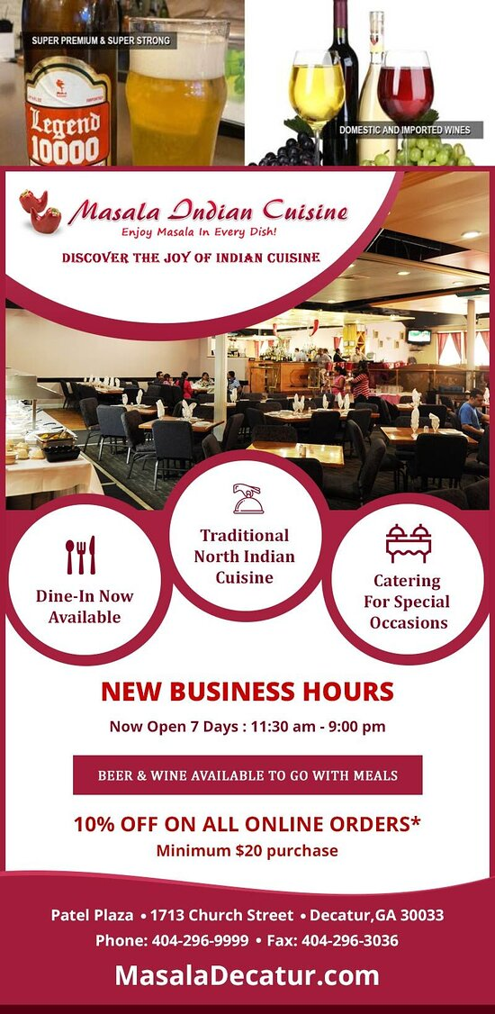 We are now open 7 Days! masaladecatur.com