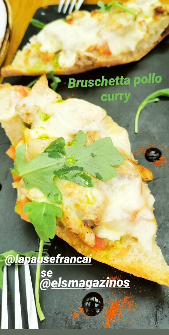 bruschetta pollo curry 3,50 euros