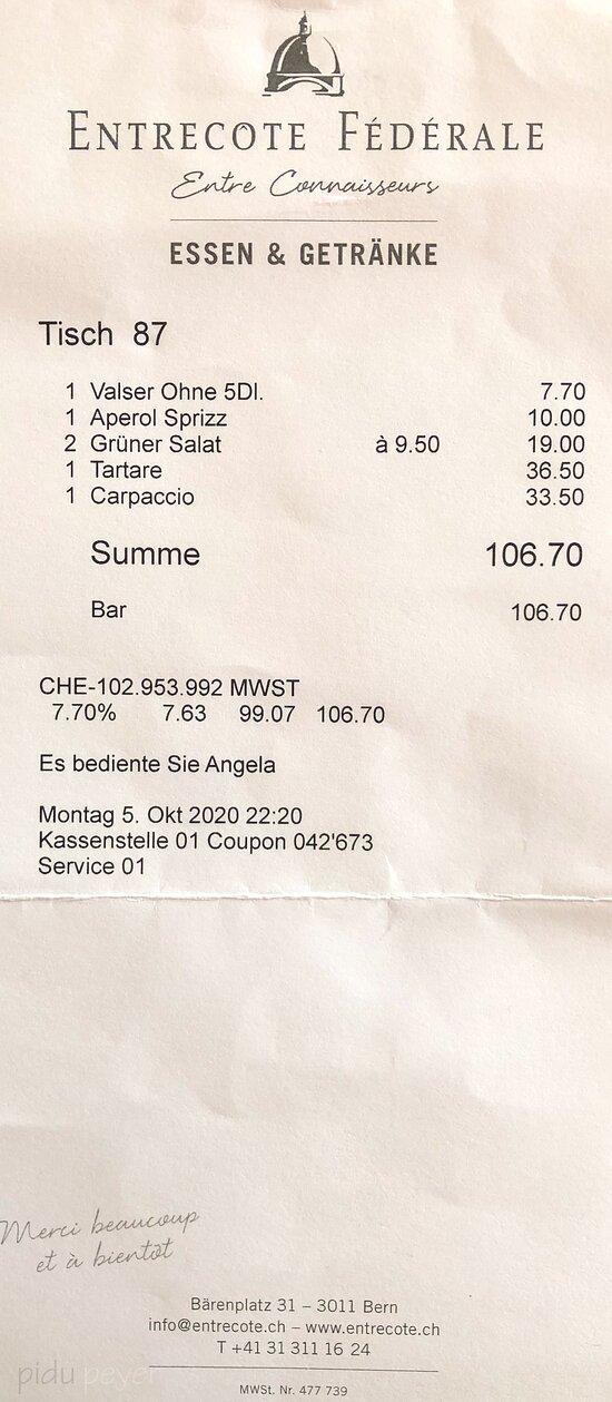 Rechnung für zwei Personen - ohne Wein