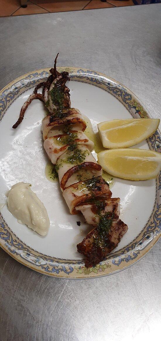 Calamar a la plancha.  Grilled squid.