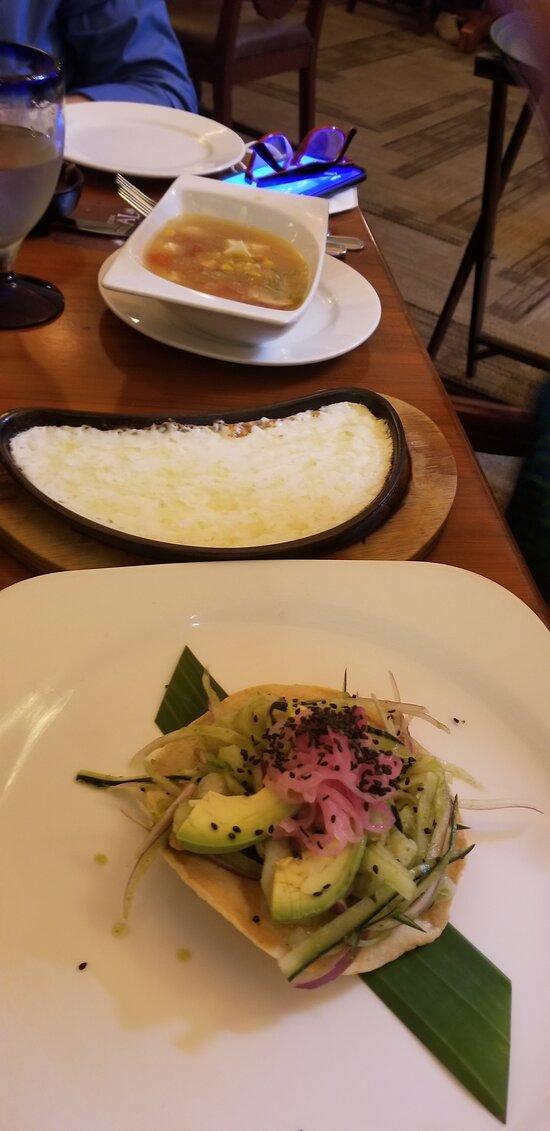Hacienda Sisal shrimp tostada - delicious!