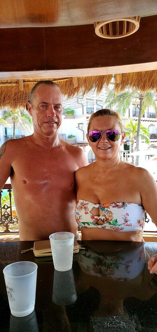 Chris and Debi enjoying Don Julio at the pool bar