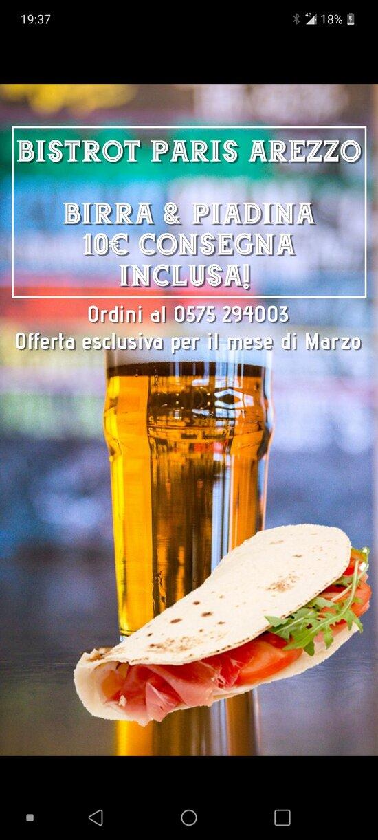 Offerta marzo anche in consegna a domicilio e 10.00  Piadina+ birra =e.10.00 direttamente a casa tua chiamando 0575294004