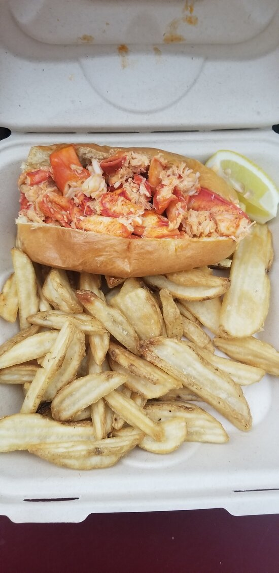 Our famous hot buttered lobster roll served with fries and coleslaw
