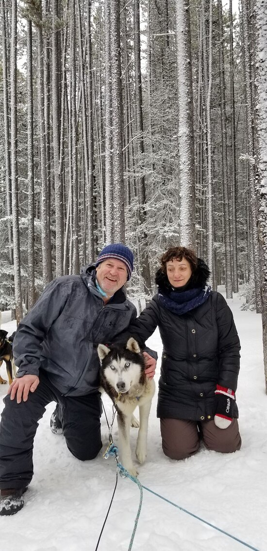 This is River a Siberian Husky, beautiful dog! This is at the stopping point were we had lunch.