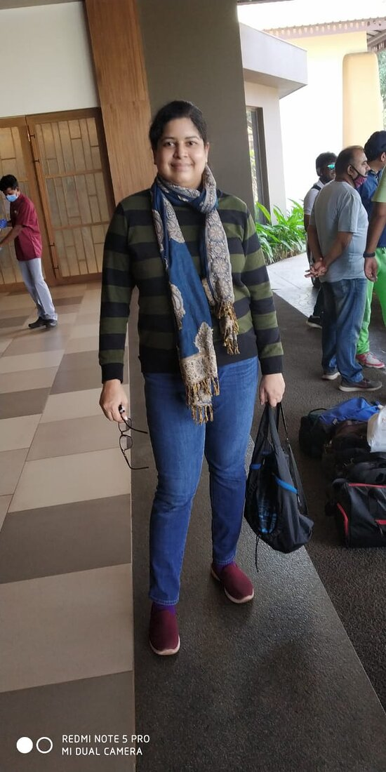 This is Me, Prajnya in the lobby area of the Resort