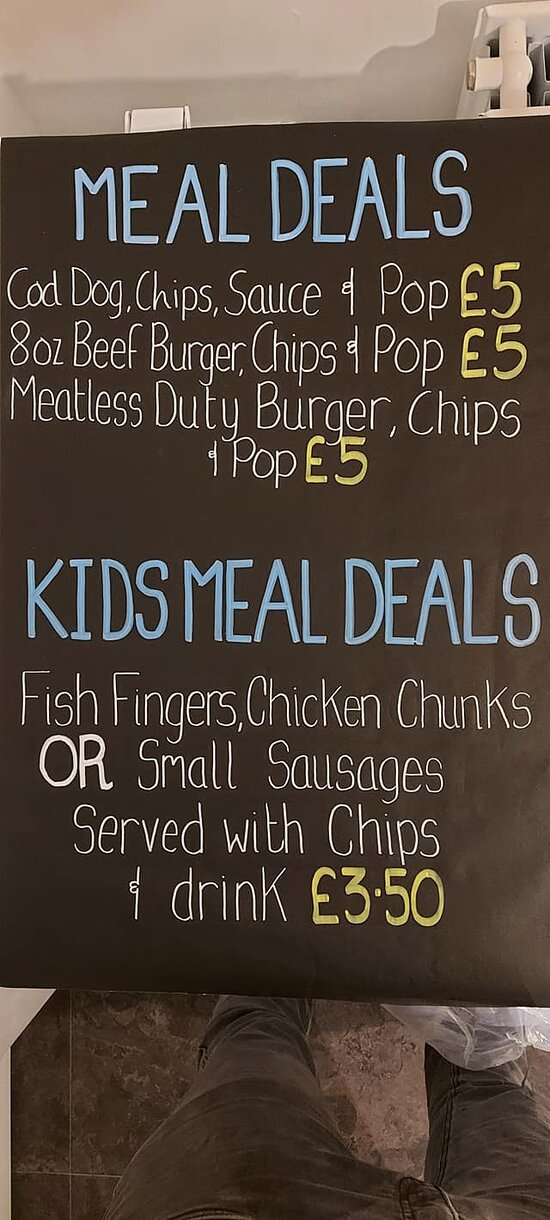 Our current menu with meal deals and kids meal deals