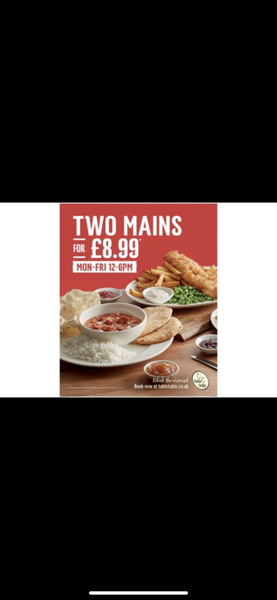 From the 17th May we will be offering our daytime deal menu again....Two mains for £8.99 Monday to Friday 12pm to 6pm, this is by far the best value menu we have ever seen, with a great selection of meals to choose from, cementing our position as the best 'value' restaurant in the area