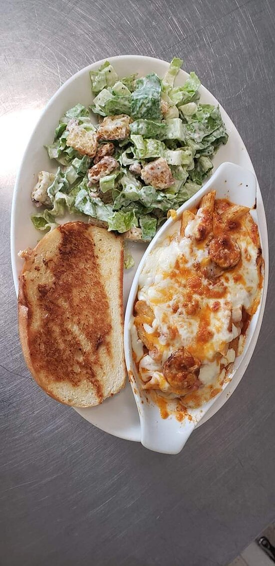 Italian Sausage Penne with Caesar Salad and Garlic Toast, when Available