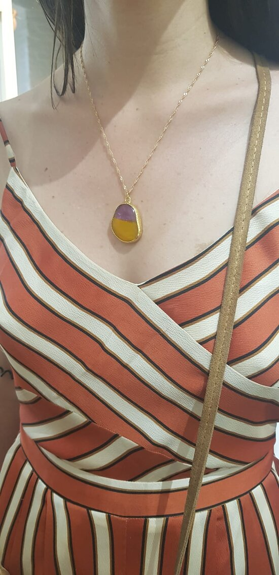 """The necklace made by the technique of """"glass fusion"""". No packing asked, just she wears it. The metals are gold plated brass"""