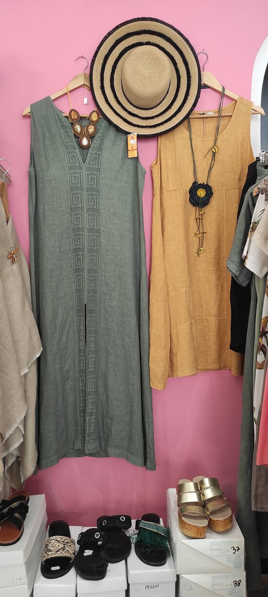 Dress, shoes and hats shopping in AURA Fashion Shop at Agia Pelagia Crete
