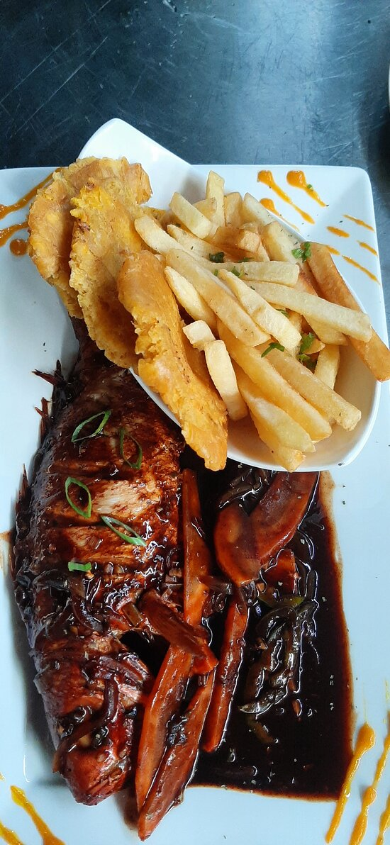 Brown Stew Fish Served with Fries