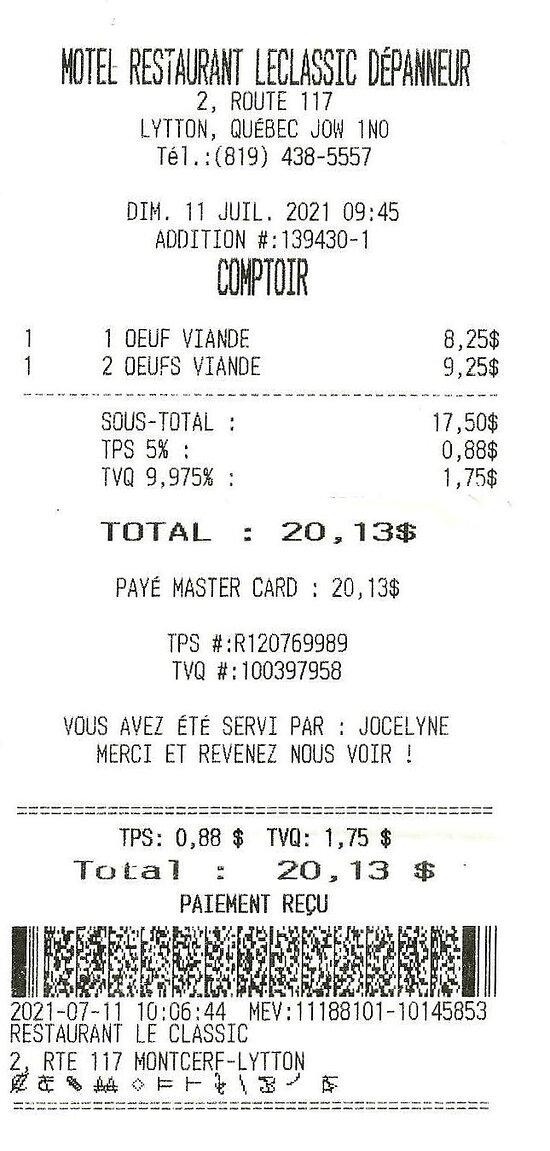 11 juillet 2021 / Déjeuners $20.13 pour deux avec taxes.