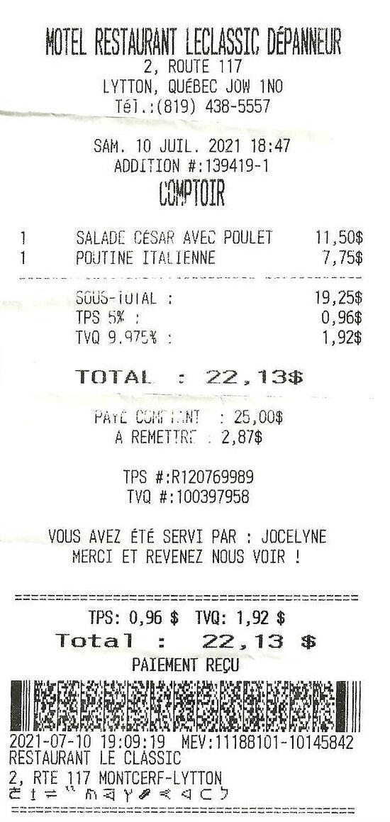10 juillet 2021 / Nos soupers $22.13