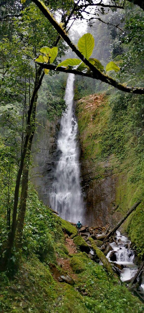 Salto El Nara!!  Una de las joyas pocas conocidas en la zona de Quepos. con una caida de agua de más de 100mts, escondida en un cañon dentro de la zona protectora Cerro Nara. A solo 40 minutos de Quepos.