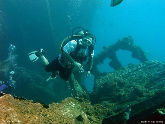 Palm - Eagle Beach, Aruba: Photo of Jay Stephenson on the Antilla wreck.