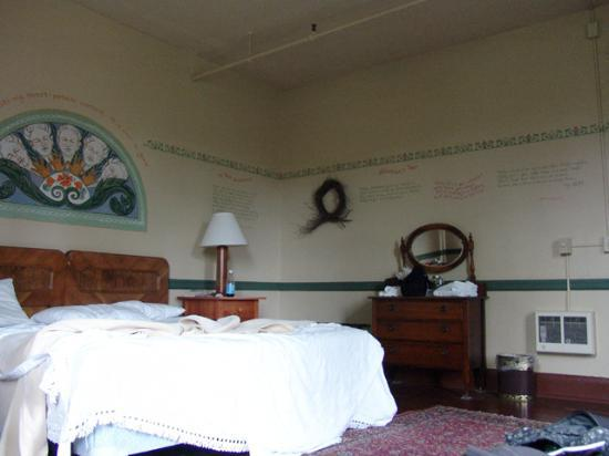 McMenamins Edgefield: our room. poetry on the walls was written by the room's former resident.