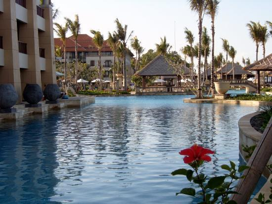 Conrad Bali: The pool is huge and is surrounded by beautiful gardens
