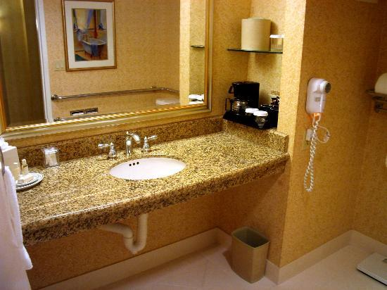 San Mateo, CA: Room 1066 bathroom with granit vanity and coffee maker