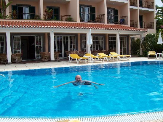 My Husband Swimming In The Pool Outside The Hotel Picture Of Hotel Albergaria Dias Funchal