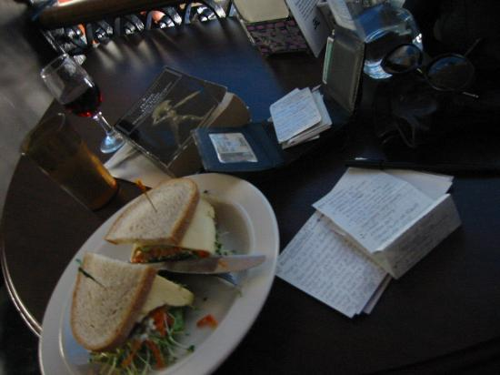 Other Side Cafe: Fresh veggie sandwich and a glass of wine.