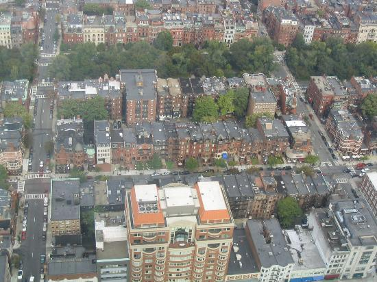 Newbury Guest House: Newbury Street from the Skywalk - Guest House has pink parasol in front yard, if you can...