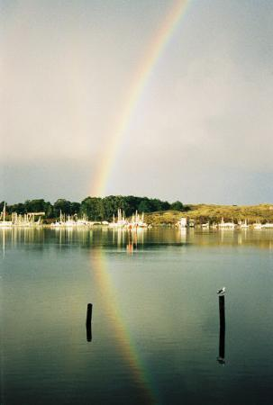 At the Bay's Edge: Rainbow over the water
