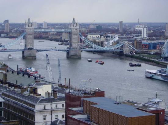 London, UK: View of Tower Bridge from the Memorial of 1666 outlook