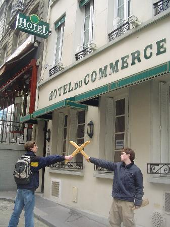 Hotel du Commerce: The battle of the baguette in front of the hotel!
