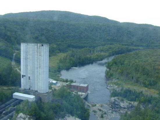 Agawa Canyon Tour Train: Crossing the Montreal River trestle - you can see how scratched the windows are.