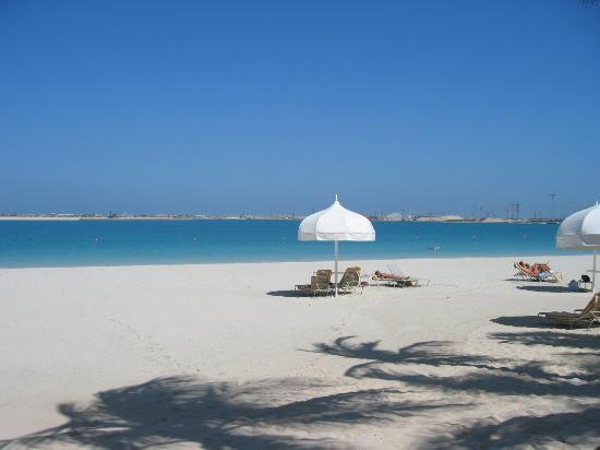 The Palace at One&Only Royal Mirage Dubai: View from the beach at the Palace to the Palm Island Development