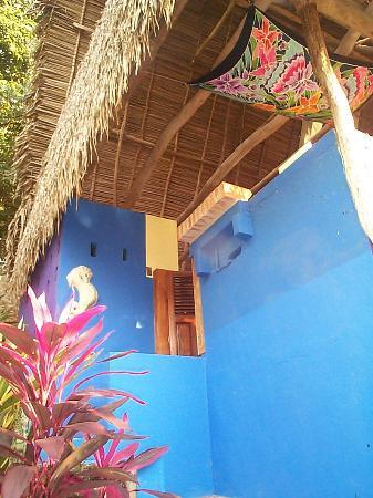 Casa Rosa: The outside is purple and blue